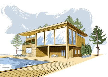 colored sketch of modern suburban wooden house with swimming pool and chaise lounges