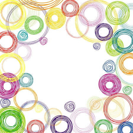 Abstract white background with multicolored rainbow circles