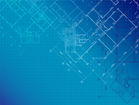 blue architectural with plans of buildings on the horizontal format