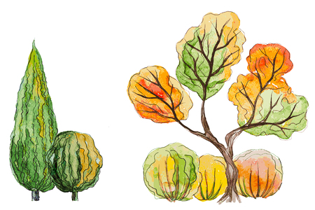 Vector autumn trees