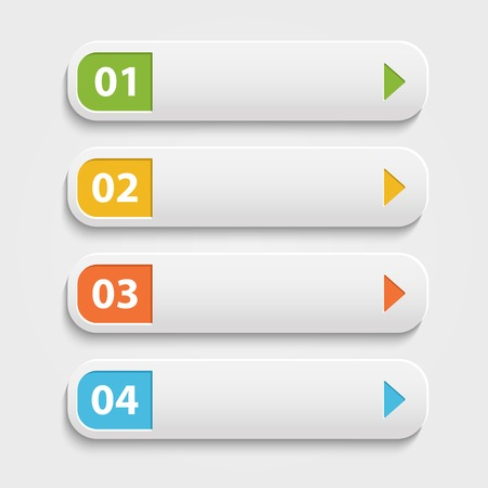 Illustration pour Vector  realistic Web buttons,infographic with numbers over white - image libre de droit