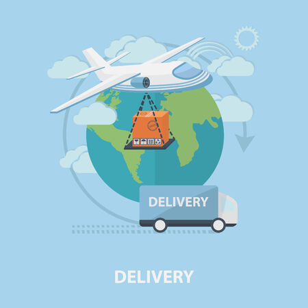 Vector delivery concept with plane, car, land layout