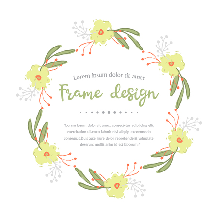 Illustration pour Wreath with leaves and yellow  flowers isolated on a white background. - image libre de droit