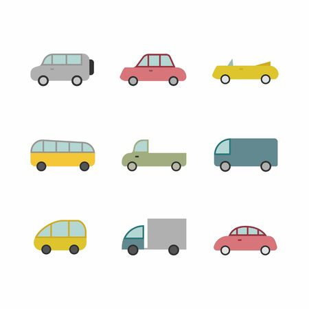 Illustration for Car transport icon,sign,pictogram,symbol  set isolated on a background  flat  style - Royalty Free Image