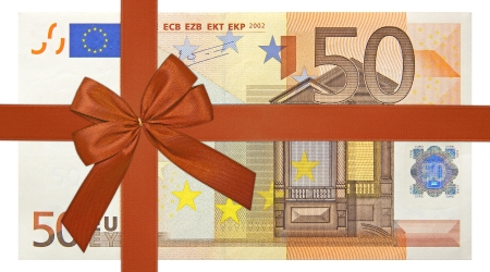 Photo pour fifty euro bank note with red ribbon band - image libre de droit