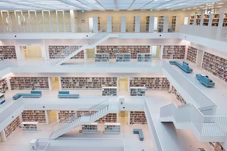Photo pour Stuttgart, Germany - March 17, 2014: The Stuttgart City Library designed by Eun, Young, Yi. It provides more than 500.000 books. - image libre de droit