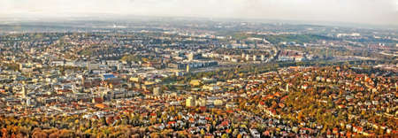 Panorama of german city Stuttgart, before construction project Stuttgart 21.