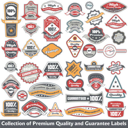 Premium quality and guarantee label collection