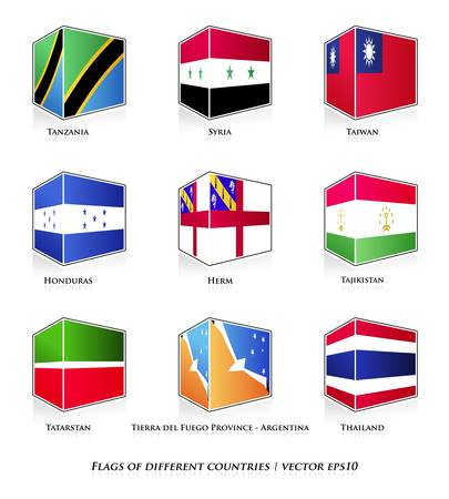 Flags of different countries isolated on white  Vector set