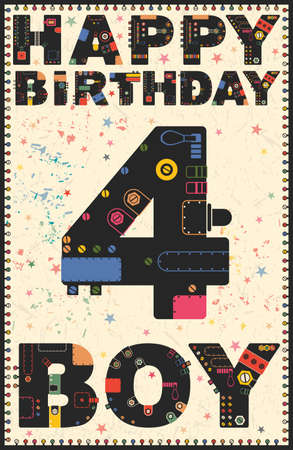 Happy birthday card. Happy birthday boy 4 years. Gift card. Vector illustration
