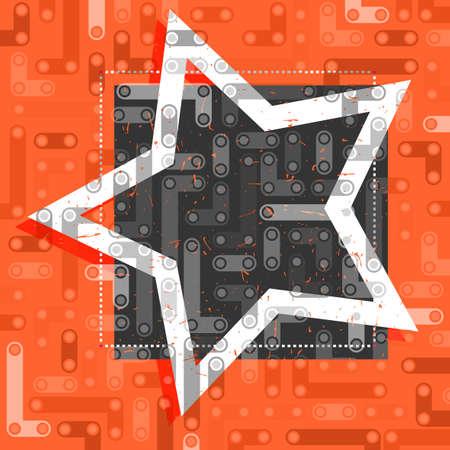 White star on black and orange frame.