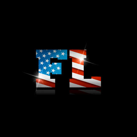Abbreviation FL with the US flag inside on black background.