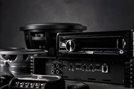 Photo pour car audio, car speakers, subwoofer and accessories for tuning. Dark background. - image libre de droit