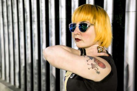 Orange hair girl in the city