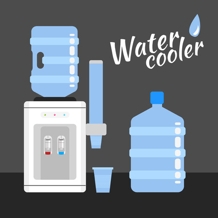 Water cooler. Refreshment and bottle office, plastic and liquid