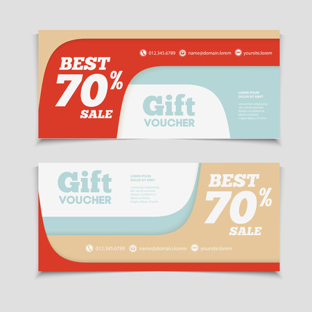 Gift voucher template with amount of discount and Contact Information. For hotel, restaurant, shop or other business.
