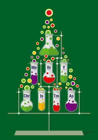 Ilustración de Christmas tree made of test tubes and bubbles on dark green background - Chemistry icons - Imagen libre de derechos