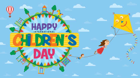 Happy International Children\'s Day greeting card. Text inside a circle surrounded by playgrounds and trees where children fly flying subject to the rope of a kite with blue sky background with clouds. Vector image