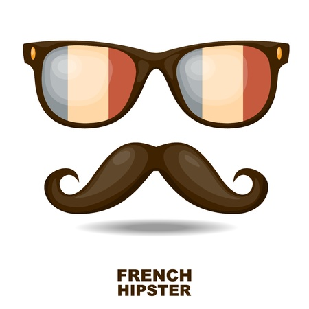 Illustration for Sunglasses and mustaches  French flag  Vector illustration - Royalty Free Image