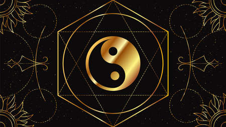 Illustration for Tao Yin and Yang. The Chinese symbol of the unity of opposites. Magical sign of golden color on a black background with geometric ornament. - Royalty Free Image