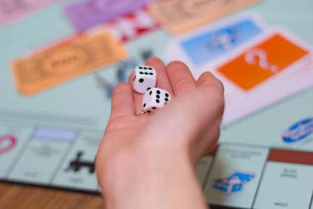 Photo pour board game close up. Game chips, game cubes - image libre de droit