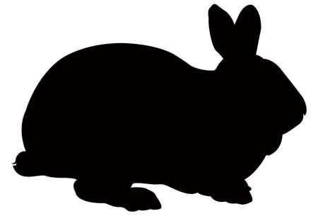 Illustration pour vector illustration of black rabbit silhouette - image libre de droit
