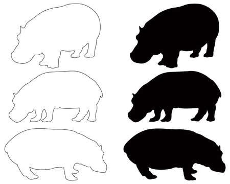 Ilustración de vector illustration of black hippo silhouette - Imagen libre de derechos