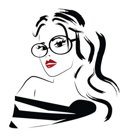 Beautiful Fashion Woman with Glassesのイラスト素材