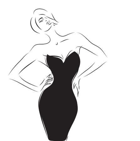Woman with an Elegant Little Black Dress