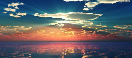 Photo pour Beautify sunset over sea, sun ray - image libre de droit