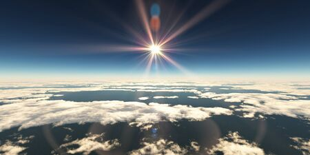 Photo for above clouds sun ray, 3d rendering - Royalty Free Image