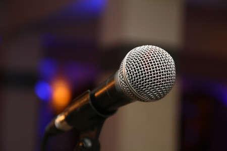 Photo pour sing music microphone on stage, macro close up - image libre de droit