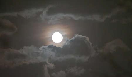 Photo pour full moon in the sky with clouds landscape - image libre de droit