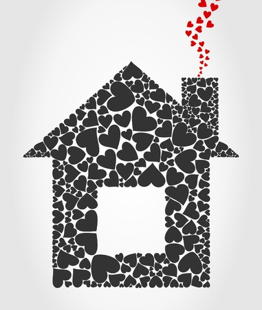 The house collected from hearts. A vector illustration