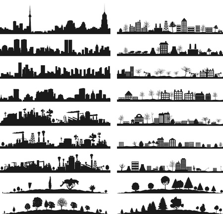 Collection of city landscapes  A vector illustration