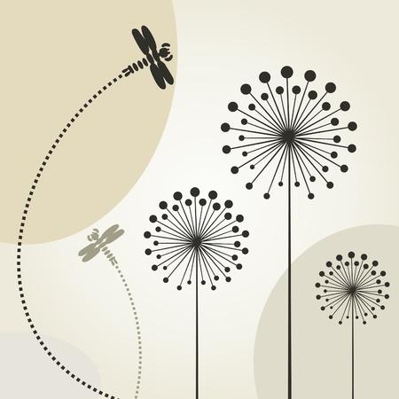 Illustration pour The dragonfly flies over a flower - image libre de droit