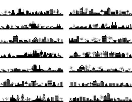 Illustration pour Collection of city landscapes. - image libre de droit