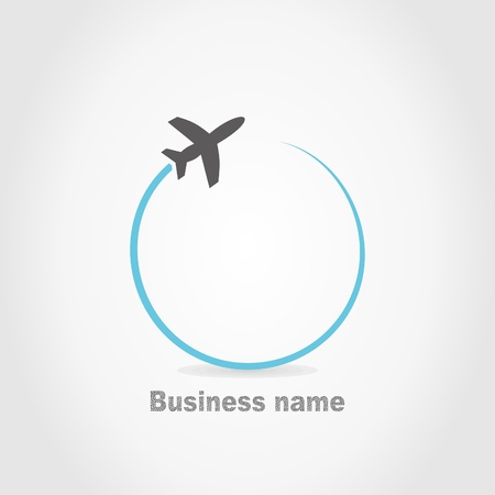 Illustration for The plane flies on a grey background. A  illustration - Royalty Free Image