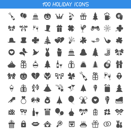 Illustration for Set of icons a holiday. A vector illustration - Royalty Free Image