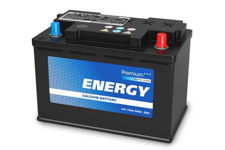 Black automobile battery