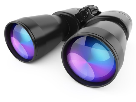 Black binoculars isolated on white background