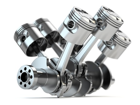 Crankshaft V6 engine isolated on white background
