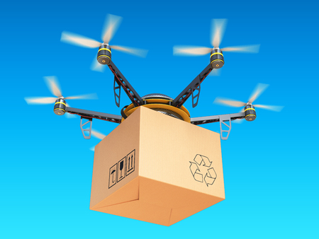Drone express air delivery in sky, airmail concept  3d