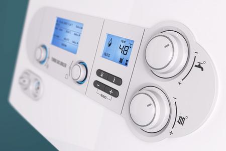 Smart control panel household gas boiler closeup 3d