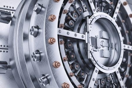 Vault bank safe open door mechanism closeup 3d