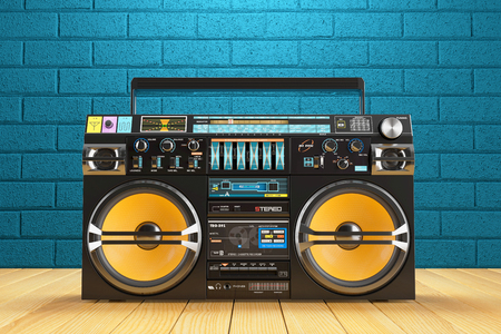 Photo for Musical tape player recoreder. Vintage radio FM player. 3d render - Royalty Free Image