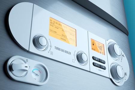 Photo pour Gas fired boiler control panel closeup. Household appliance. Illustration 3d - image libre de droit