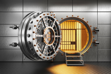 Photo pour Vault bank door in storage room. 3d render - image libre de droit