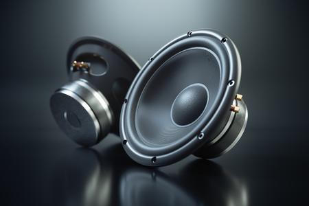 Foto für Two sound speakers on black background 3d render - Lizenzfreies Bild