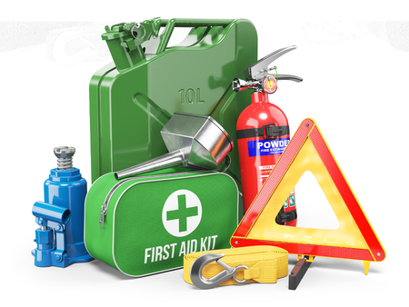 Photo pour Group of automobile accessories. Jerrycan, funnel, fire extinguisher, first aid kit, tow rope, jack and emergency warning triangle. Objects isolated on white background. 3d - image libre de droit